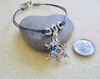 Snowflake Charm Thin Leather Bracelet