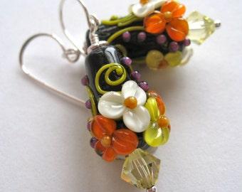 Marigold Floral Cone Lampwork Glass Bead Earrings