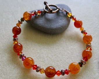 Autumn Fire Crystal Stone and Copper Bracelet