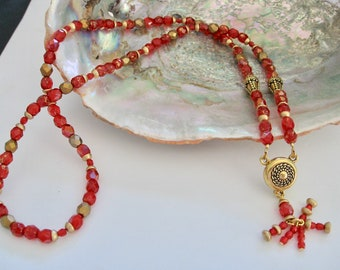 Opulence Ruby Red and Gold Long Pendant Necklace