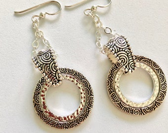 Antiqued Silver Textured Earrings