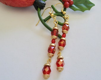 Ruby Red and Gold Long Dangle Earrings
