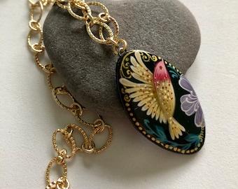 Hand-painted Hummingbird Pendant Necklace