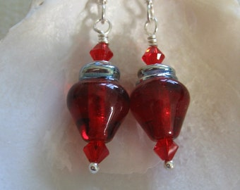 Bright Red Holiday Light Bulb Earrings