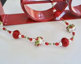 Holly Berries Lampwork Bead Necklace
