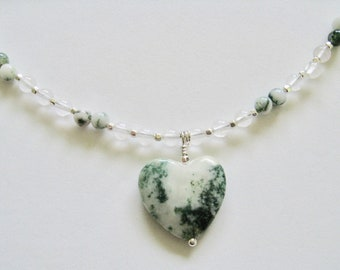 Tree Agate Heart Pendant Beaded Necklace
