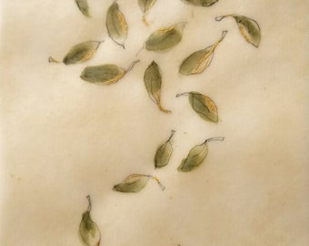 Daily Drawing June 2, 2018 / Summer Leaves in Green and Gold / Wabi Sabi / Mixed Media Drawing with Beeswax