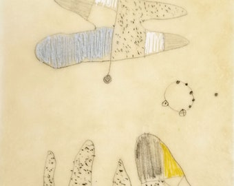 Daily Drawing Project: February 1, 2021 / Small Works / Abstract Mixed Media  Drawing in Beeswax