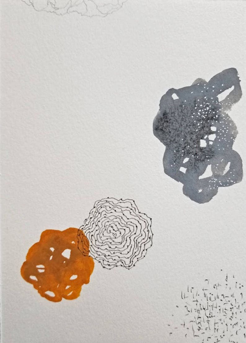 Floating Shapes in Flat Space / Mixed Media Drawing / Daily image 0