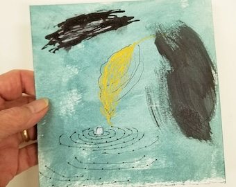 Abstract Ink Drawing with Leaf of Gold / Daily Drawing Project October 26, 2021