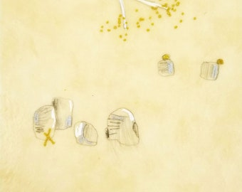 Daily Drawing Project: March 12, 2021 / Small Works / Abstract Mixed Media  Drawing in Beeswax