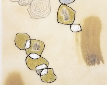 Daily Drawing Project: February 2, 2021 / Small Works / Abstract Mixed Media  Drawing in Beeswax