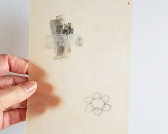 Daily Drawing January 31, 2018 / Art for Small Spaces / Wabi Sabi / Mixed Media Drawing with Beeswax