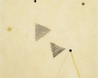 Daily Drawing Project: January 26, 2021 / Layered Mixed Media  Drawing in Beeswax / Floating Triangles