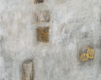 Impromptu no. 4 / Abstract Mixed Media Drawing with Gold Ink and Rows of Dots