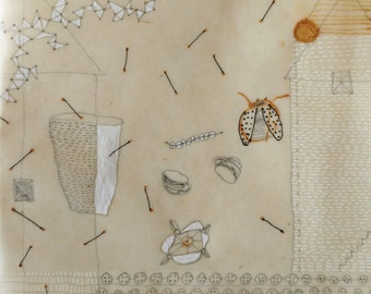 A Day in the Life (Sanctuary Series) / Mixed Media Drawing with Beeswax