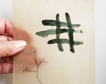 Daily Drawing June 6, 2018 / Summer Leaves in Green and Gold / Wabi Sabi / Mixed Media Drawing with Beeswax