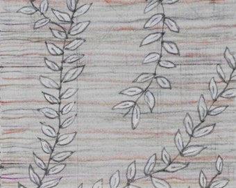 Leafy Vines Against Delicate Colored Pencil Lines / Mixed Media Drawing