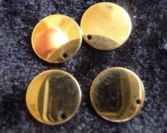 Drop, Gold-Plated Brass, 12mm, Flat Round, Pack Of 12 drops.