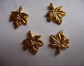 SALE!!  Charm, gold finished, pewter, zinc based alloy, 13x13mm, single sided, leaf, Pack of 10 charms. SALE!!
