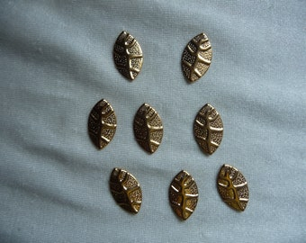 SALE!! Charms, Gold Plated Brass Leaf 18mm Drops with Design. Sold per pack of 16 drops. SALE!!