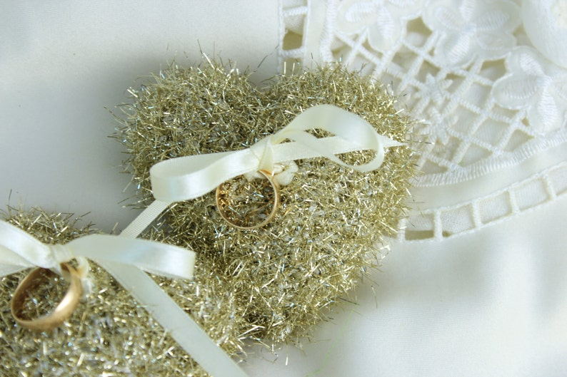 Crochet Wedding Ring Bearer Crochet Heart Home Decor Golden Hearts Ornament Crochet Golden Heart Pillows Heart Pillow Wedding Decor