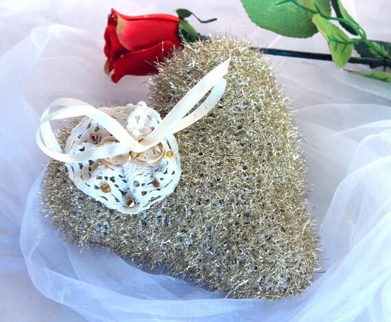 Häkeln Sie goldenes Herz Kissen Hochzeit goldene Herz Kissen | Etsy