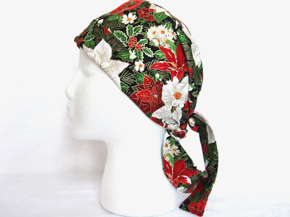 Surgical Scrub Hats//Cap~Christmas Red Poinsettias!~