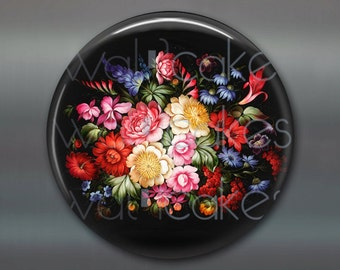 "3.5"" floral fridge magnet, russian trays flower decor, kitchen decor, large magnet, decorative magnet, stocking stuffer MA-327"