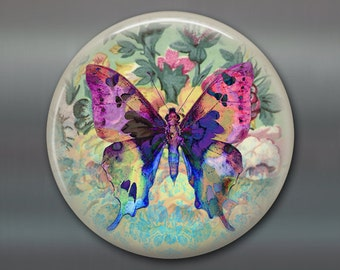 "3.5"" butterfly refrigerator magnet butterfly decor, cottage chic spring decor, kitchen decor, large magnet stocking stuffer MA-365"