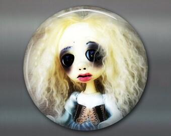 "3.5"" gothic doll fridge magnet, large magnet, kitchen decor, gothic art decor, stocking stuffer gift for her MA-AD38"