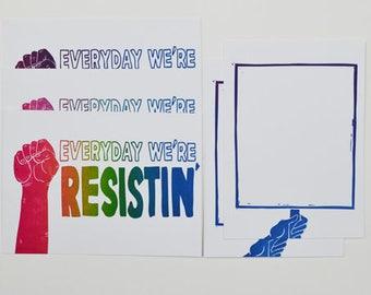 Everyday We're Resistin' 5 Postcard Set