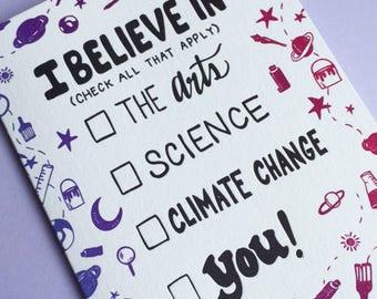 I Believe In... Letterpressed Card