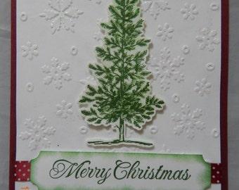 8 Handmade Christmas Tree Cards with Saying