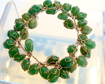Caged Jade Green Agate Charm Bracelet Hand Wrought Silver Dangles Stones Vintage Cha Cha