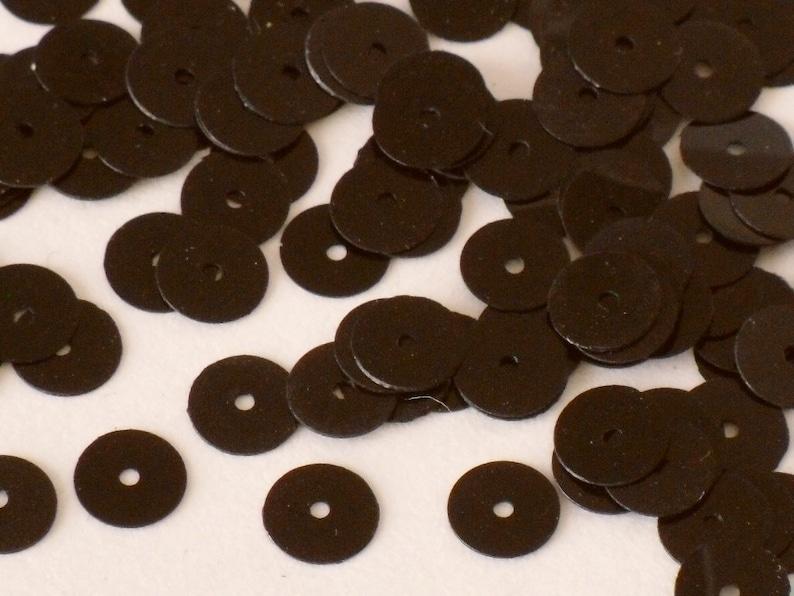 Black Loose Sequins Paillettes 4mm Round Flat Vintage 1970/'s