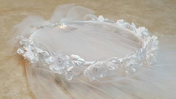 Miniature Bride Veil in White Girls 2T Silk Flower Pearl First Communion Veil