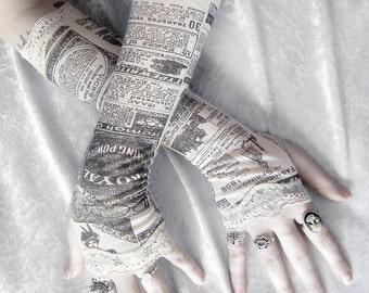Gossip Society Arm Warmers | Victorian Newspaper Print | Ivory Cream Black & Lace | Gothic Steampunk Noir Yoga Romantic Lolita Goth Bohemian