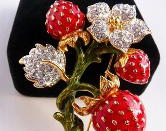 Kenneth Jay Lane strawberry brooch pin, KJL design, fruit and flowers, 1990s vintage, very rare book piece