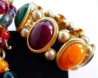 Liz Claiborne bracelets necklace clip earrings, LCI jewelry set, vintage mod jewelry, bright teal orange burgundy lime, 1990s 2000s