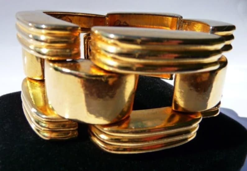 7 14 inches small to medium Ben Amun vintage tank track bracelet shiny gold tone heavy weighty industrial art bracelet