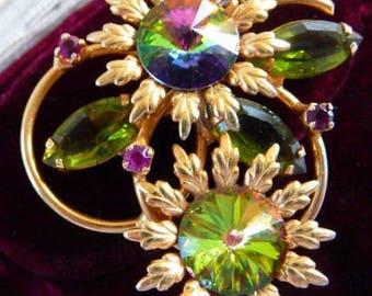 D & E verified Juliana watermelon rivoli brooch pin | inverted stones | vintage jewelry | unsigned beauty | 1960s Juliana