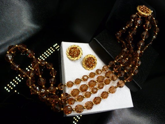 How She Sparkled Vintage 1950s Facet Cut Glass Beads /& Rhinestones Dangle Sparkling Necklace