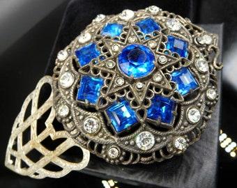 Czech Alphonse Mucha style Art Nouveau dress clip, silver pot metal, blue clear rhinestones, 1930s 1940s vintage