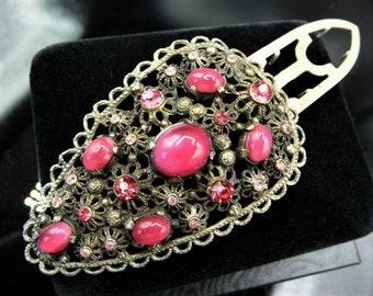 Czech Art Nouveau style dress clip, silver pot metal, raspberry moonglow pink rhinestones, 1930s 1940s vintage
