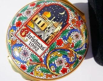 Halcyon Days English enamel ring trinket box, Bilston & Battersea enamels, made in England, 1992 vintage Christmas collectible