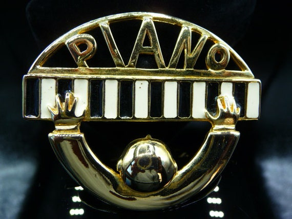 PIANO MAN brooch pin, Art Deco advertisement, pian