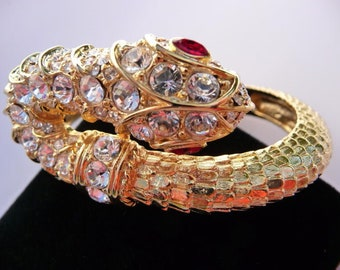 KJL rhinestone snake clamper cuff,  mughal style bracelet, Kenneth Jay Lane vintage, faux rubies