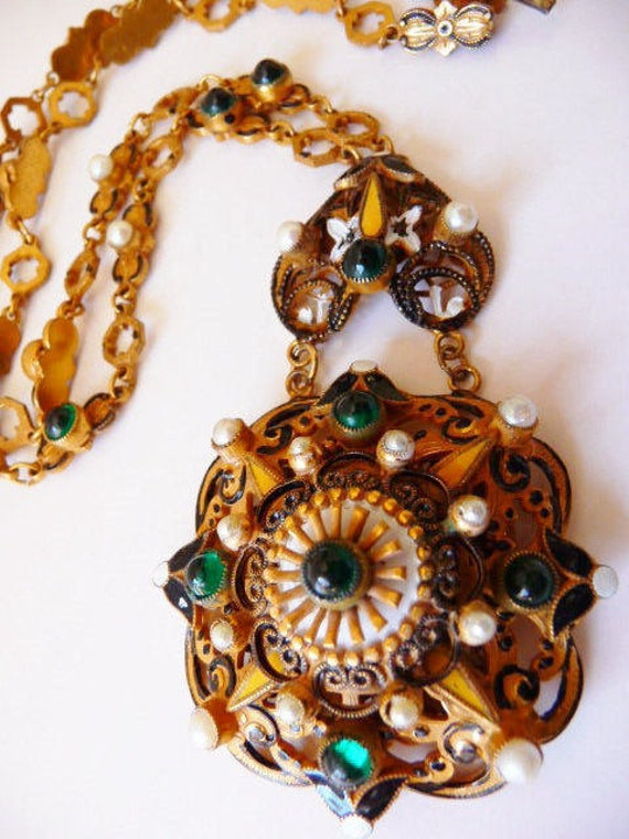 vintage unsigned Hobe Austro~Hungarian necklace, C