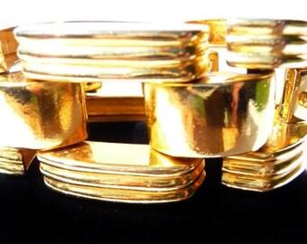 Ben Amun tank track bracelet, shiny gold tone, heavy weighty industrial vintage art bracelet, small to medium, 7 1/4 inches